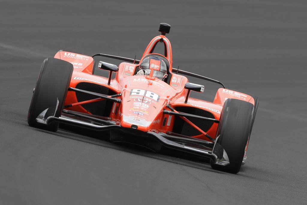 Marco Andretti drives through turn one during practice for the Indianapolis 500 IndyCar auto race at Indianapolis Motor Speedway, Friday, May 17, 2019