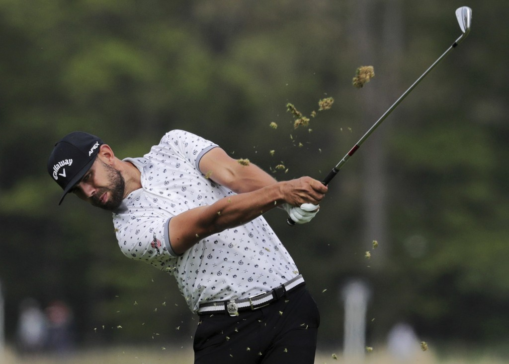 Erik Van Rooyen, of South Africa, hits off the 12th fairway during the second round of the PGA Championship golf tournament, Friday, May 17, 2019, at