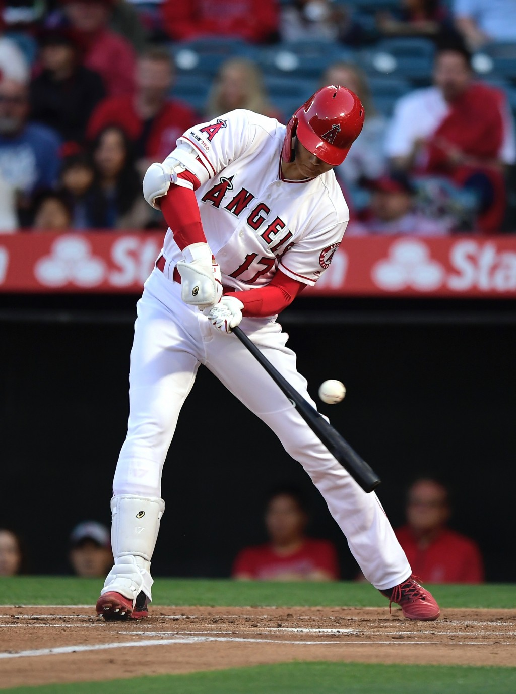 Los Angeles Angels' Shohei Ohtani, of Japan, swings for strike three during the first inning of the team's baseball game against the Kansas City Royal