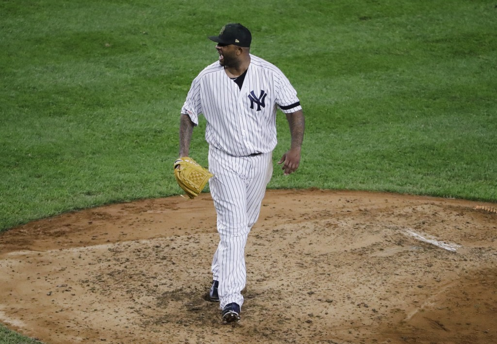 New York Yankees' CC Sabathia reacts after striking out Tampa Bay Rays' Brandon Lowe during the sixth inning of a baseball game Friday, May 17, 2019,