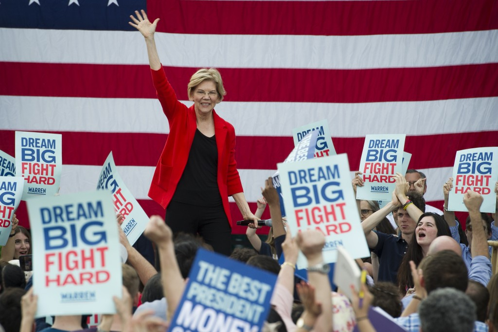 In this May 16, 2019, photo, Democratic presidential candidate Sen. Elizabeth Warren, D-Mass., addresses a campaign rally at George Mason University i