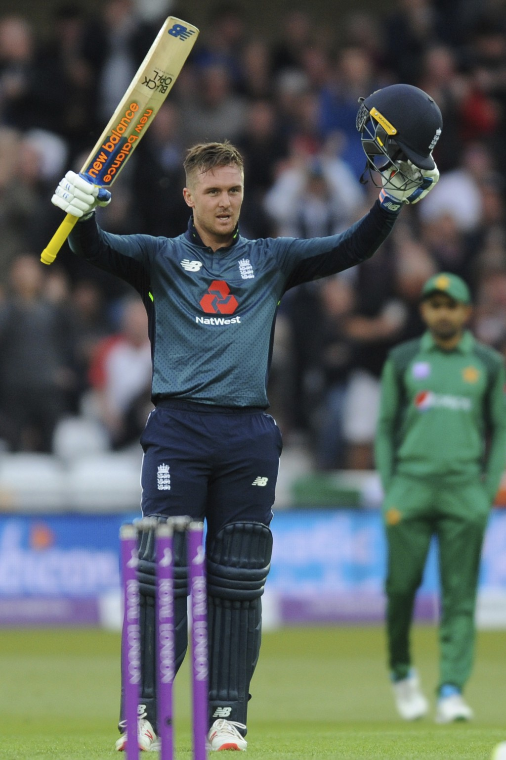 England's Jason Roy celebrates scoring a century during the Fourth One Day International cricket match between England and Pakistan at Trent Bridge in