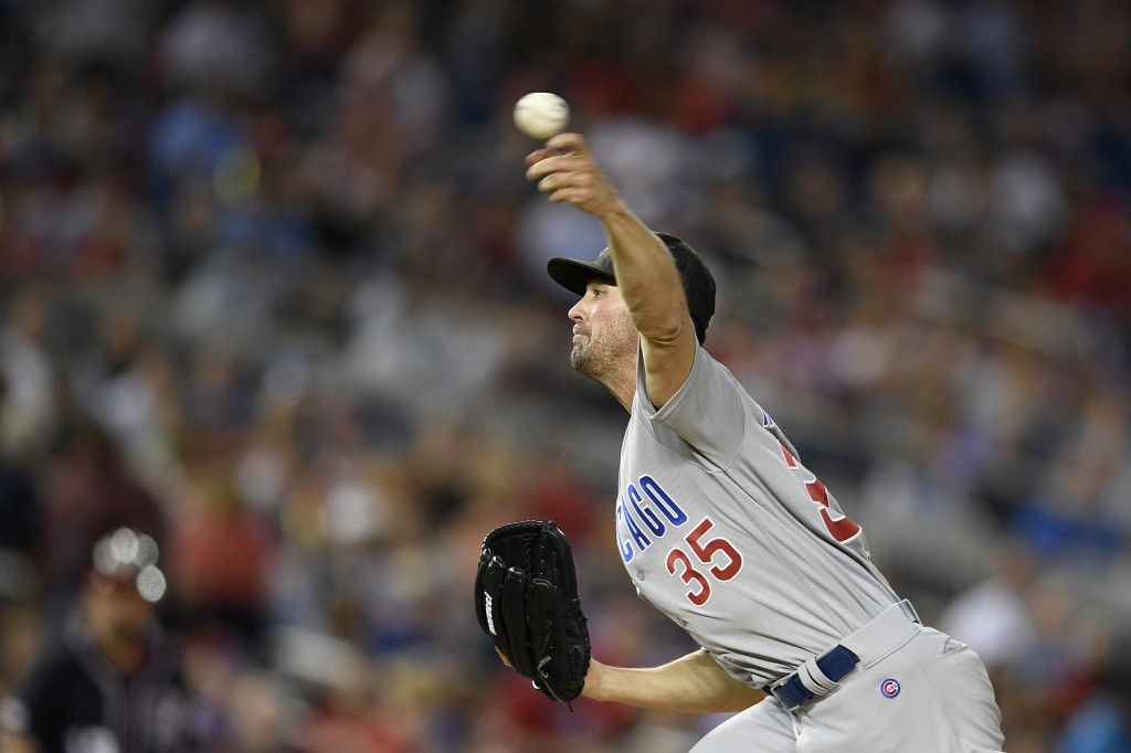 Chicago Cubs starting pitcher Cole Hamels delivers during the fourth inning of a baseball game against the Washington Nationals, Friday, May 17, 2019,