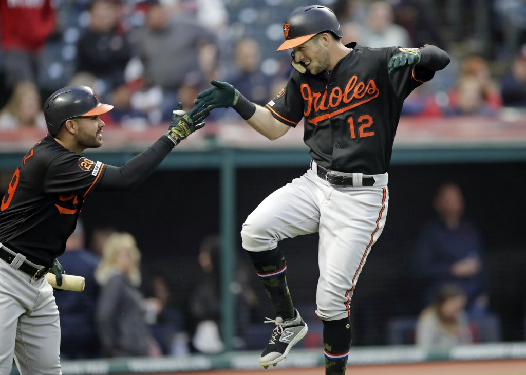 Baltimore Orioles' Stevie Wilkerson, right, and Renato Nunez celebrate after Wilkerson hit a solo home run off Cleveland Indians starting pitcher Jefr