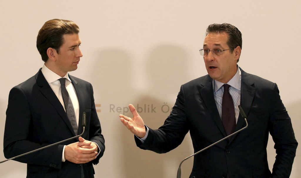 FILE - In this Tuesday, Dec. 4, 2018 file photo, Austria's Chancellor Sebastian Kurz and Austrian Vice Chancellor Heinz-Christian Strache, from left,