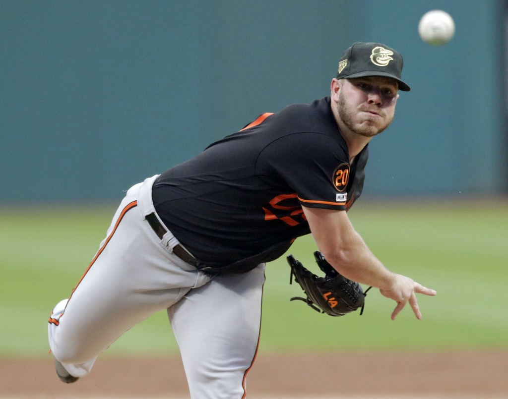 Baltimore Orioles starting pitcher Dylan Bundy delivers in the first inning of a baseball game against the Cleveland Indians, Friday, May 17, 2019, in
