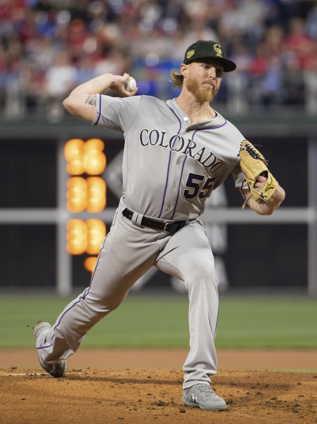 Colorado Rockies starting pitcher Jon Gray throws a pitch during the first inning of a baseball game against the Philadelphia Phillies, Friday, May 17