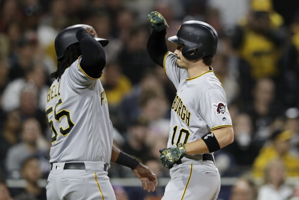 Pittsburgh Pirates' Bryan Reynolds, right, is greeted by Josh Bell after hitting a two-run home run during the fourth inning of the team's baseball ga