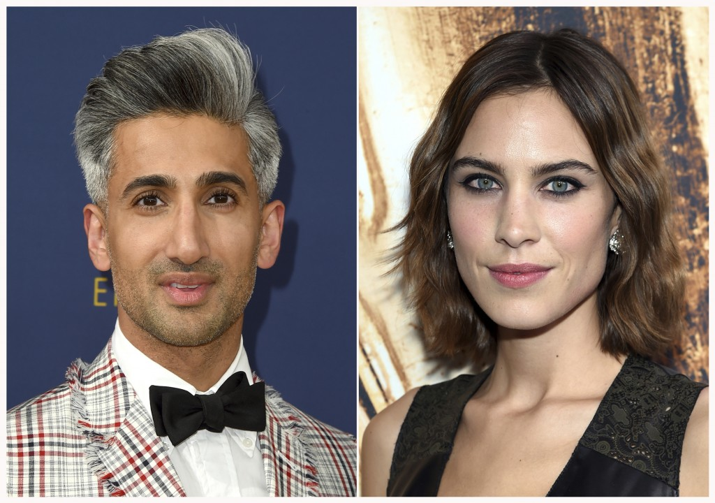 This combination of photos shows Tan France at the 70th Primetime Emmy Awards in Los Angeles on Sept. 17, 2018, left, and Alexa Chung at the CFDA Fash