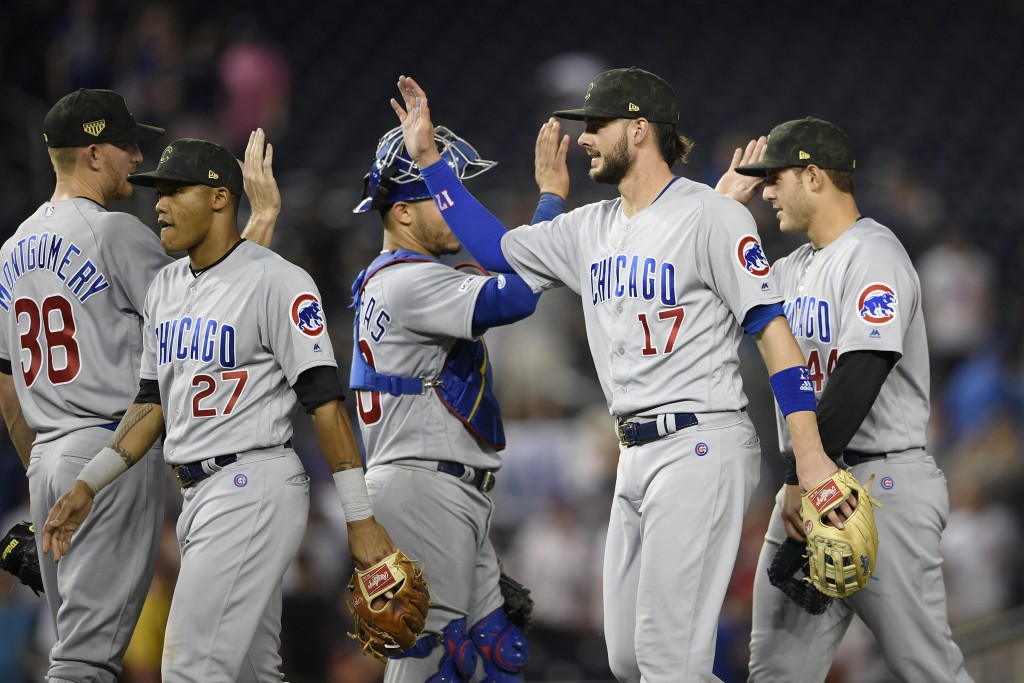 Chicago Cubs' Kris Bryant (17) celebrates with Mike Montgomery (38), Addison Russell (27), Willson Contreras (40) and Anthony Rizzo (44) after a baseb