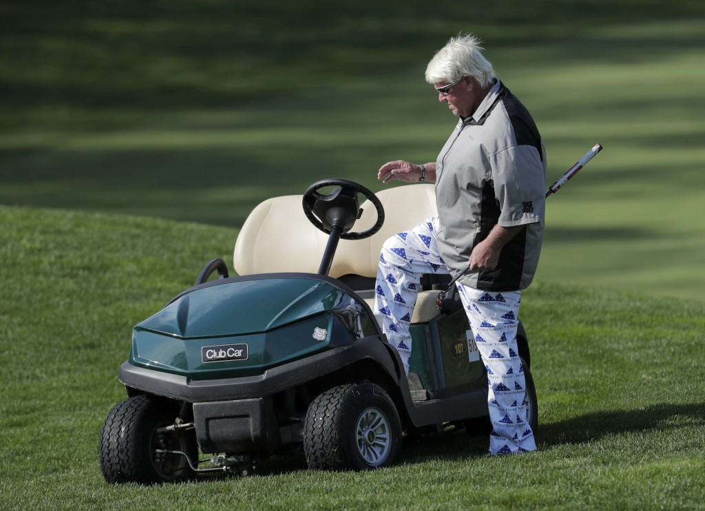 John Daly gets in his golf cart after putting on the fifth green during the second round of the PGA Championship golf tournament, Friday, May 17, 2019