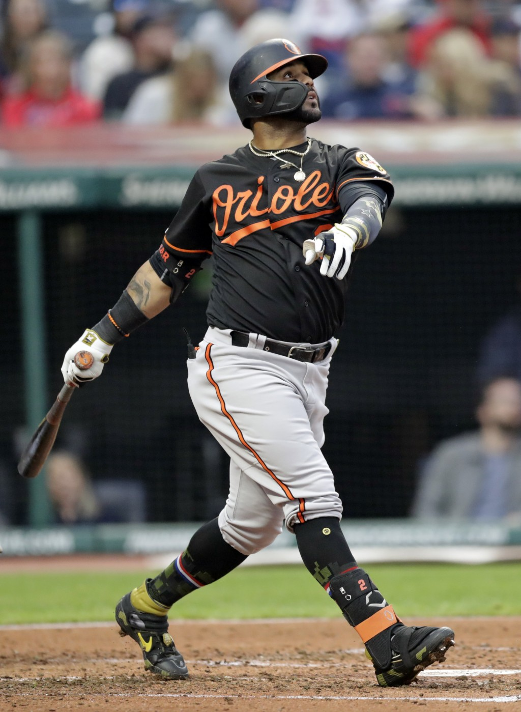 Baltimore Orioles' Jonathan Villar watches his three-run home run off Cleveland Indians starting pitcher Jefry Rodriguez in the third inning of a base