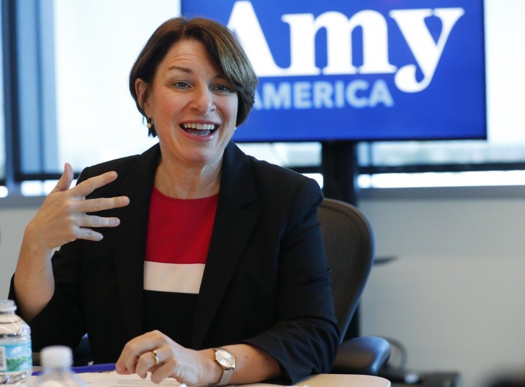 FILE - In this Tuesday, April 16, 2019 file photo, Democratic presidential candidate Amy Klobuchar speaks during a roundtable discussion on health car