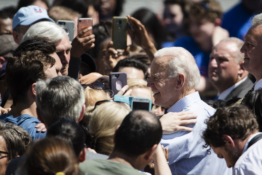 Democratic presidential candidate, former Vice President Joe Biden meets with attendees during a campaign rally at Eakins Oval in Philadelphia, Saturd...