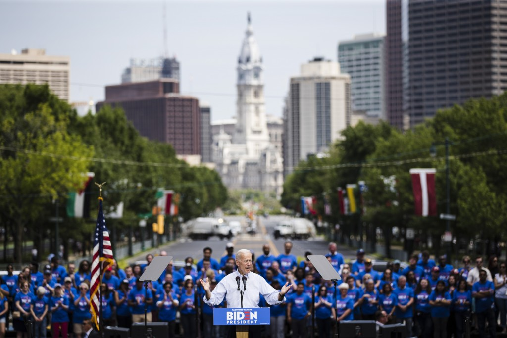 Democratic presidential candidate, former Vice President Joe Biden speaks during a campaign rally at Eakins Oval in Philadelphia, Saturday, May 18, 20...