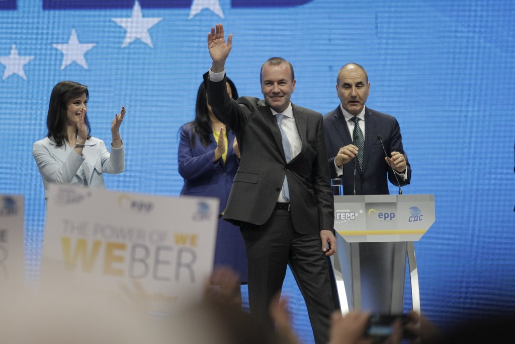Germany's Manfred Weber of the European People's Party waves during ruling party GERB's rally in Sofia, Bulgaria, Sunday, May 19, 2019. The rally come