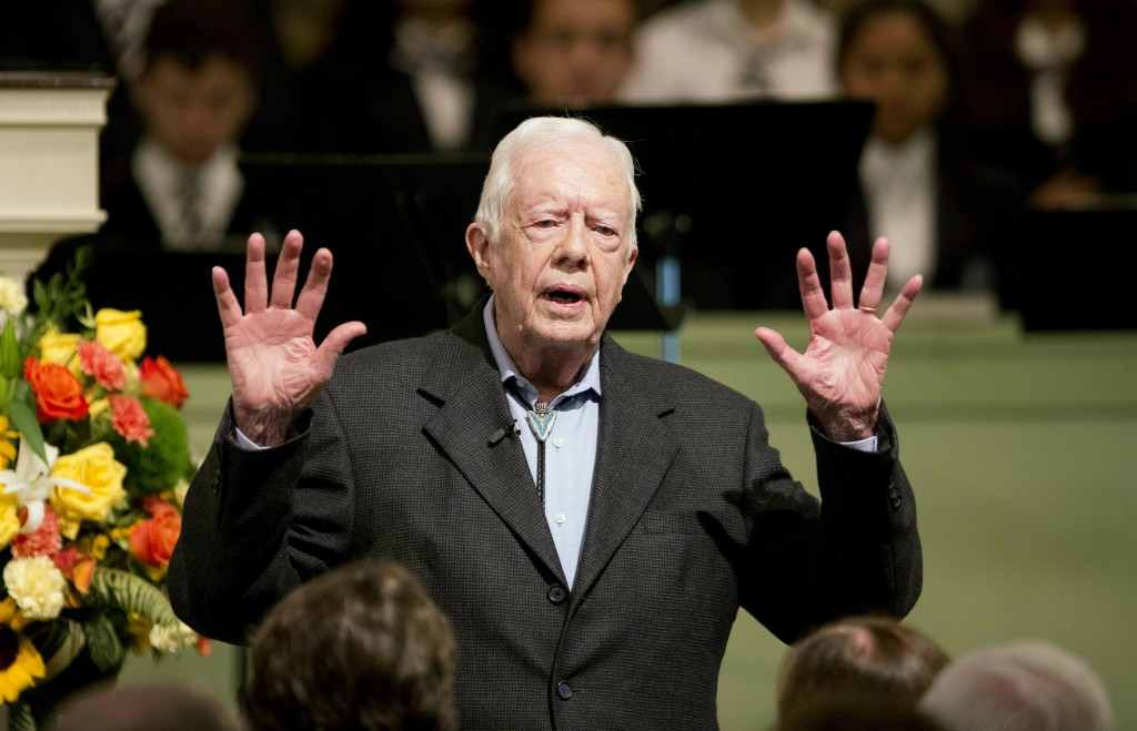 FILE - In this Sunday, Aug. 23, 2015 file photo, former President Jimmy Carter teaches Sunday School class at Maranatha Baptist Church in his hometown