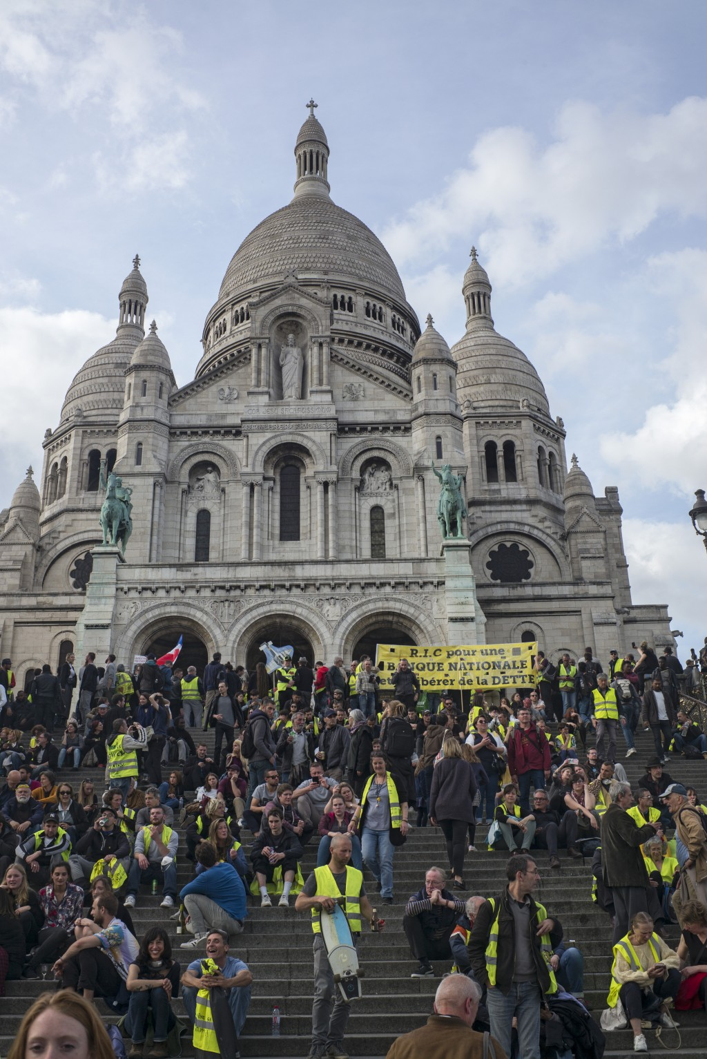 Yellow vest protestors gather in Paris, France, Saturday, May 18, 2019. Yellow vest protests are taking place for the 27th consecutive week to challen...