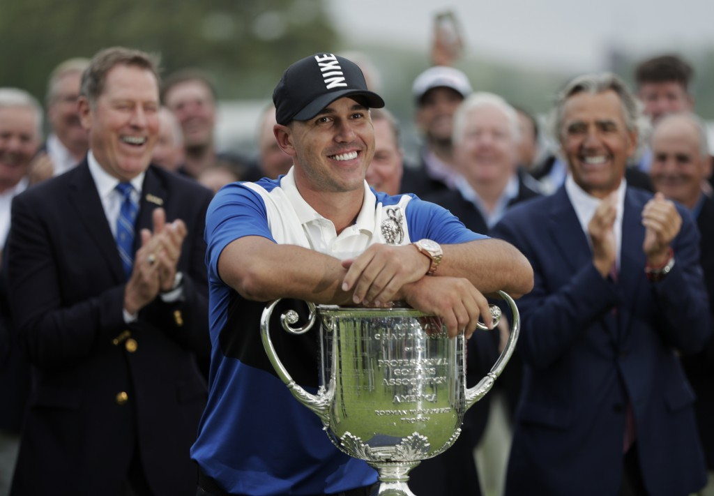 Brooks Koepka poses with the Wanamaker Trophy after winning the PGA Championship golf tournament, Sunday, May 19, 2019, at Bethpage Black in Farmingda...