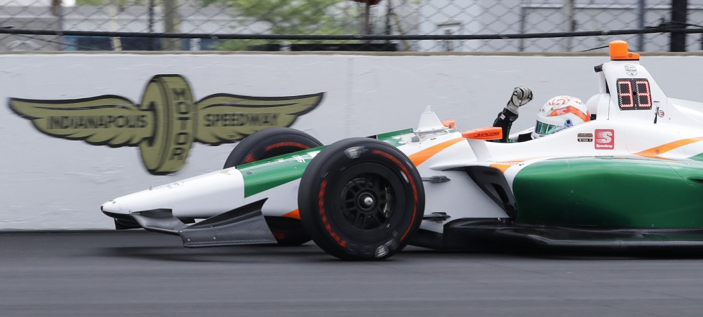 Kyle Kaiser reacts after qualifying for the Indianapolis 500 IndyCar auto race at Indianapolis Motor Speedway, Sunday, May 19, 2019 in Indianapolis. (