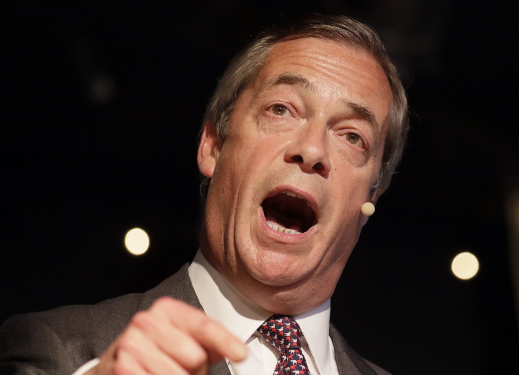 British politician Nigel Farage speaks during a Brexit Party rally at Lakeside Country Club in Frimley Green in Surrey, England, Sunday, May 19, 2019.