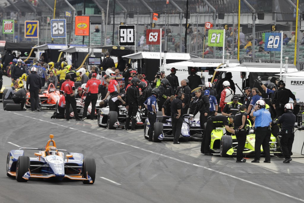 JR Hildebrand (48) leaves the pits during practice for the Indianapolis 500 IndyCar auto race at Indianapolis Motor Speedway, Monday, May 20, 2019, in