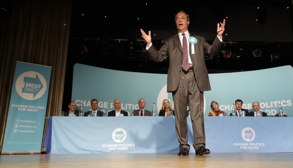 British Politician Nigel Farage speaks on stage during a Brexit Party rally at Lakeside Country Club in Frimley Green in Surrey, England, Sunday, May