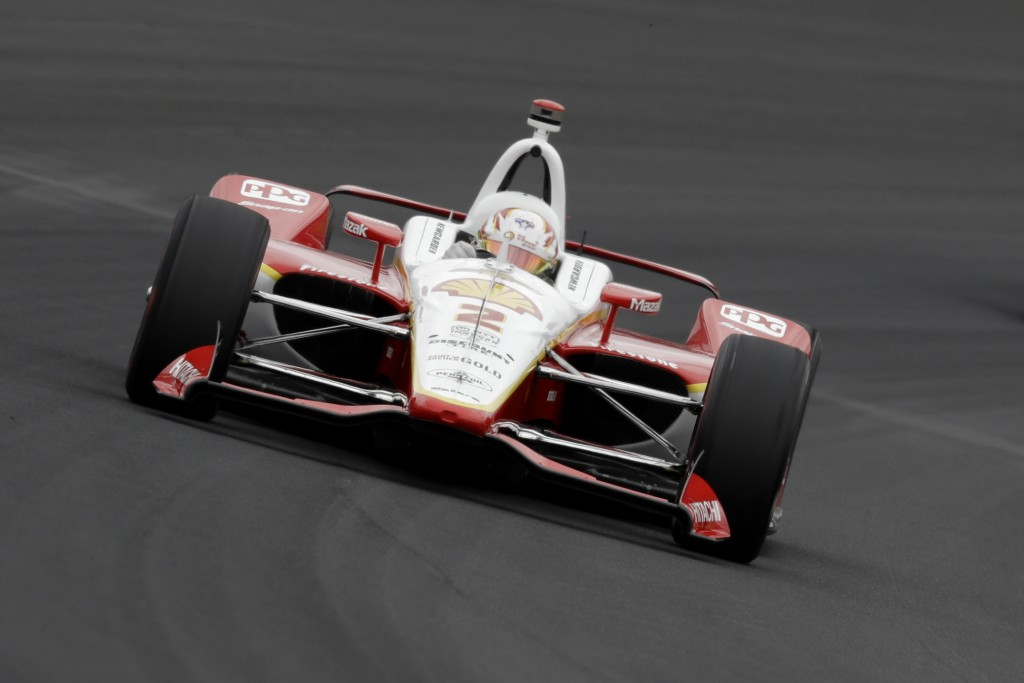 Josef Newgarden drives into turn one during practice for the Indianapolis 500 IndyCar auto race at Indianapolis Motor Speedway, Monday, May 20, 2019, ...