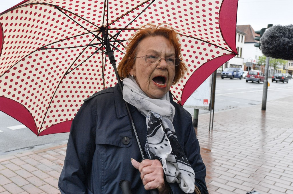 In this Thursday, May 16, 2019 photo citizen Eta Grotheer talks to the Associated Press about the forthcoming elections in Bremerhaven, Germany. The c