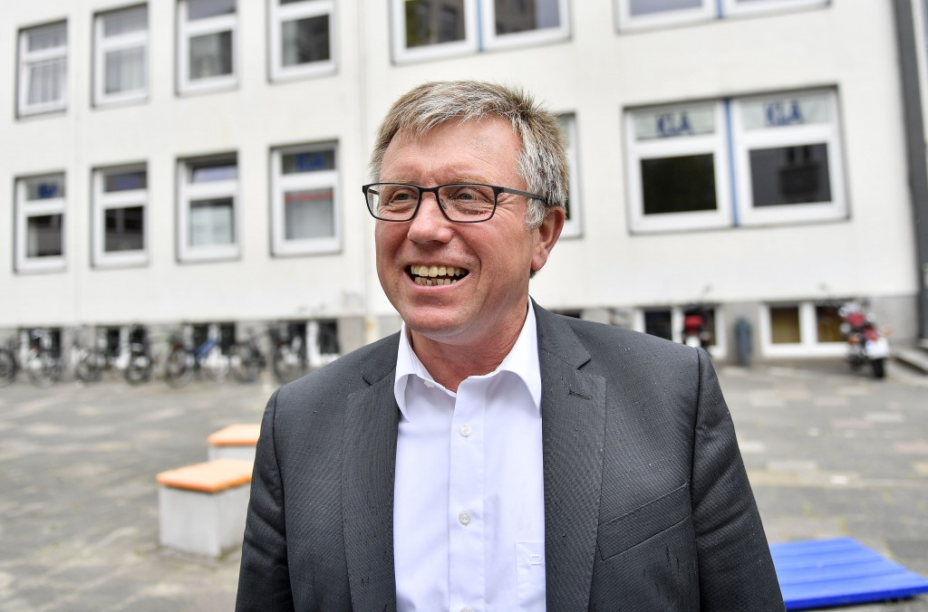 In this Thursday, May 16, 2019 photo, top candidate for the European Elections Joachim Schuster of the Social Democratic Party, SPD, talks to The Asso