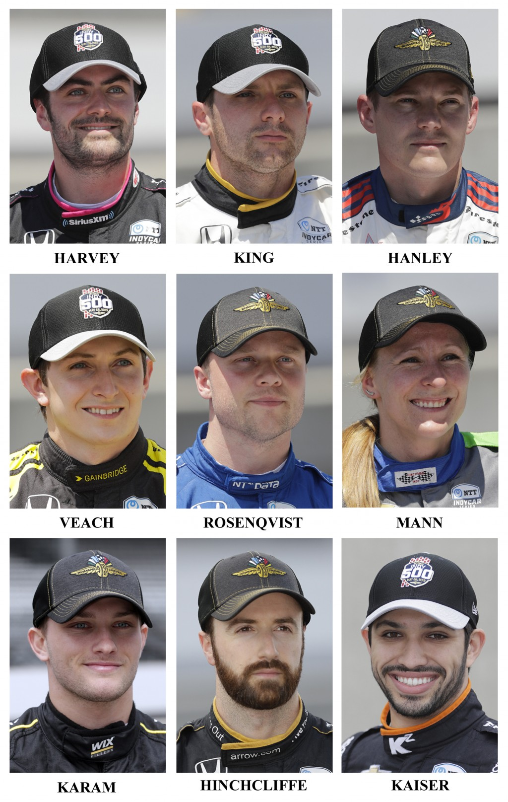 Drivers in the starting field for the May 26 Indianapolis 500 IndyCar auto race are shown after they qualified at the Indianapolis Motor Speedway in I...