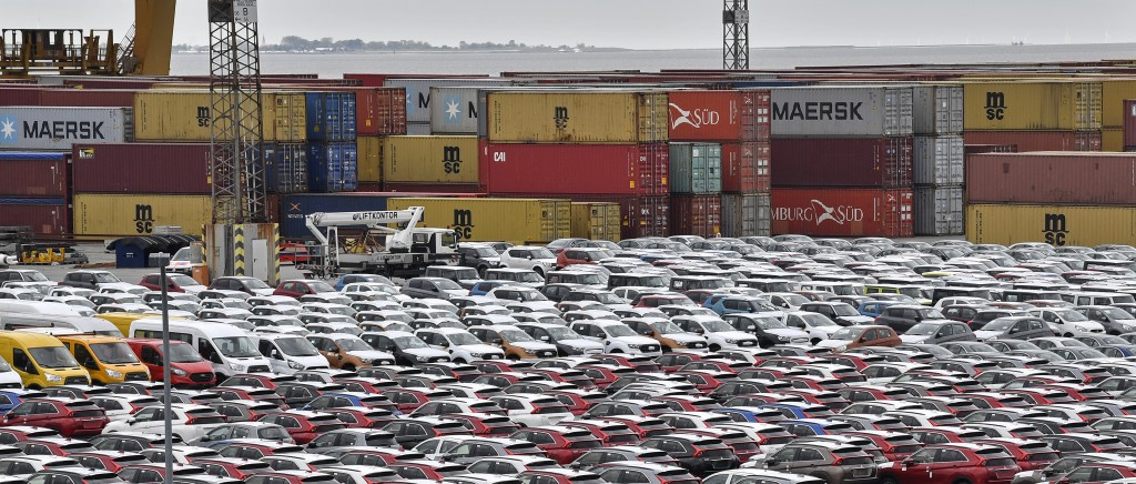 Thursday, May 16, 2019 photo, cars for import and export park in the free harbour in Bremerhaven, Germany. The city became a battleground for EU's fra