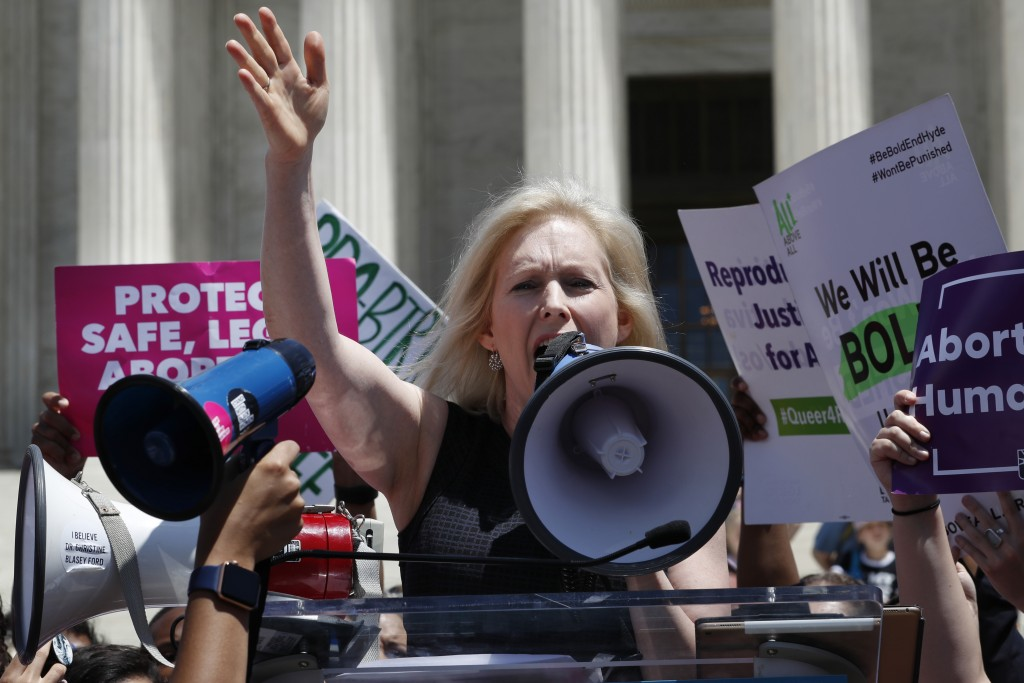 Democratic presidential candidate Sen. Kirsten Gillibrand, D-N.Y., speaks during a protest against abortion bans, Tuesday, May 21, 2019, outside the S
