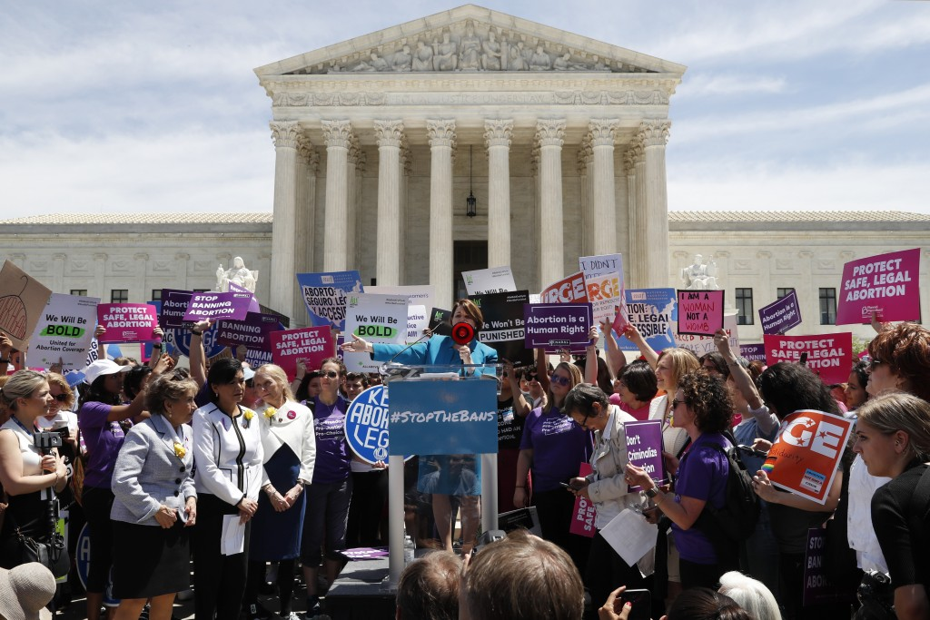 Democratic presidential candidate Sen. Amy Klobuchar, D-Minn., speaks during a protest against abortion bans, Tuesday, May 21, 2019, outside the Supre