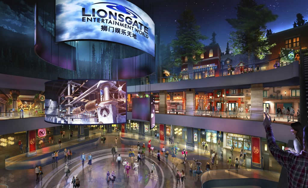 This rendering released by Lionsgate shows the atrium of Lionsgate Entertainment World, a virtual reality-heavy theme park set to open in July on Heng...