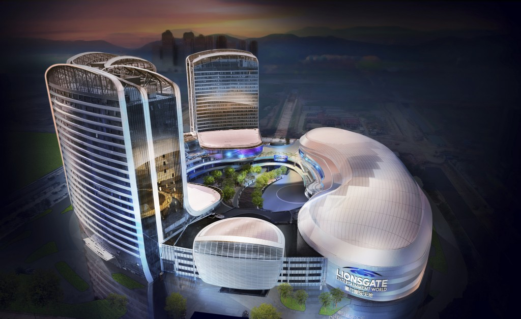 This rendering released by Lionsgate shows the aerial view of Lionsgate Entertainment World, a virtual reality-heavy theme park set to open in July on...
