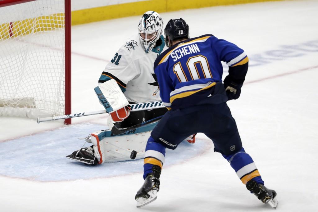 St. Louis Blues center Brayden Schenn (10) scores against San Jose Sharks goaltender Martin Jones (31) during the second period in Game 6 of the NHL h...