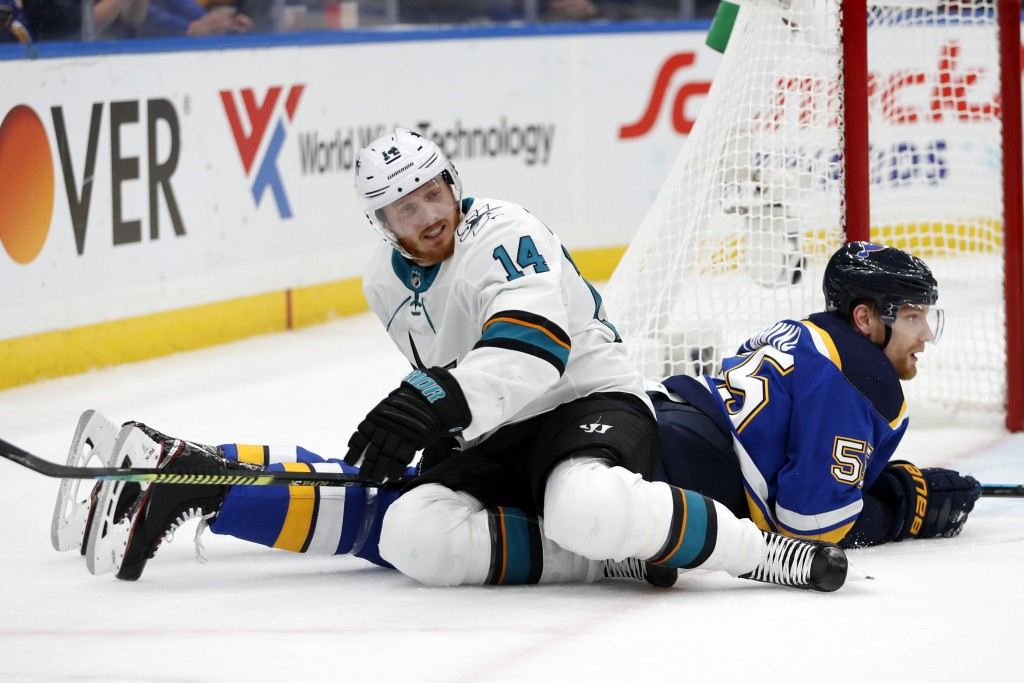 San Jose Sharks center Gustav Nyquist (14), of Sweden, gets off of St. Louis Blues defenseman Colton Parayko (55) during the second period in Game 6 o...