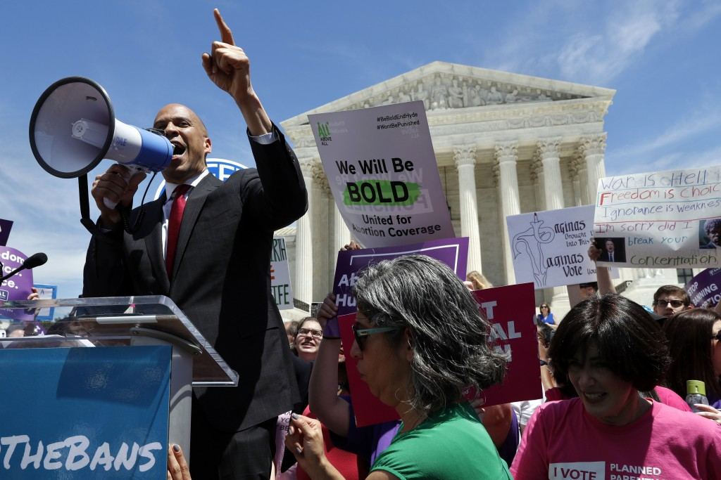 Democratic presidential candidate Sen. Cory Booker, D-N.J. speaks during a protest against abortion bans, Tuesday, May 21, 2019, outside the Supreme C