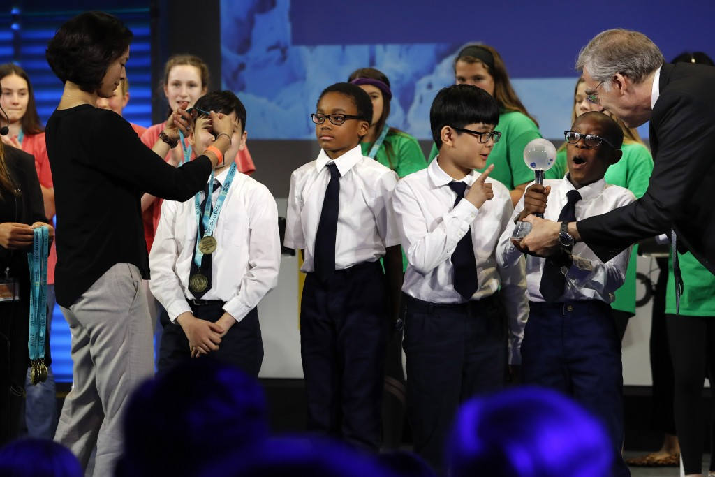 """""""Team Navigators"""" from Flushing Christian School in New York, N.Y., including Natanel Rozic, left, Victor Jimenez, Alex Jun, and Jeremiah Pierre, reac"""
