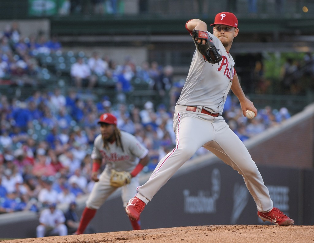 Philadelphia Phillies starting pitcher Cole Irvin throws to a Chicago Cubs batter during the first inning of a baseball game Wednesday, May 22, 2019,