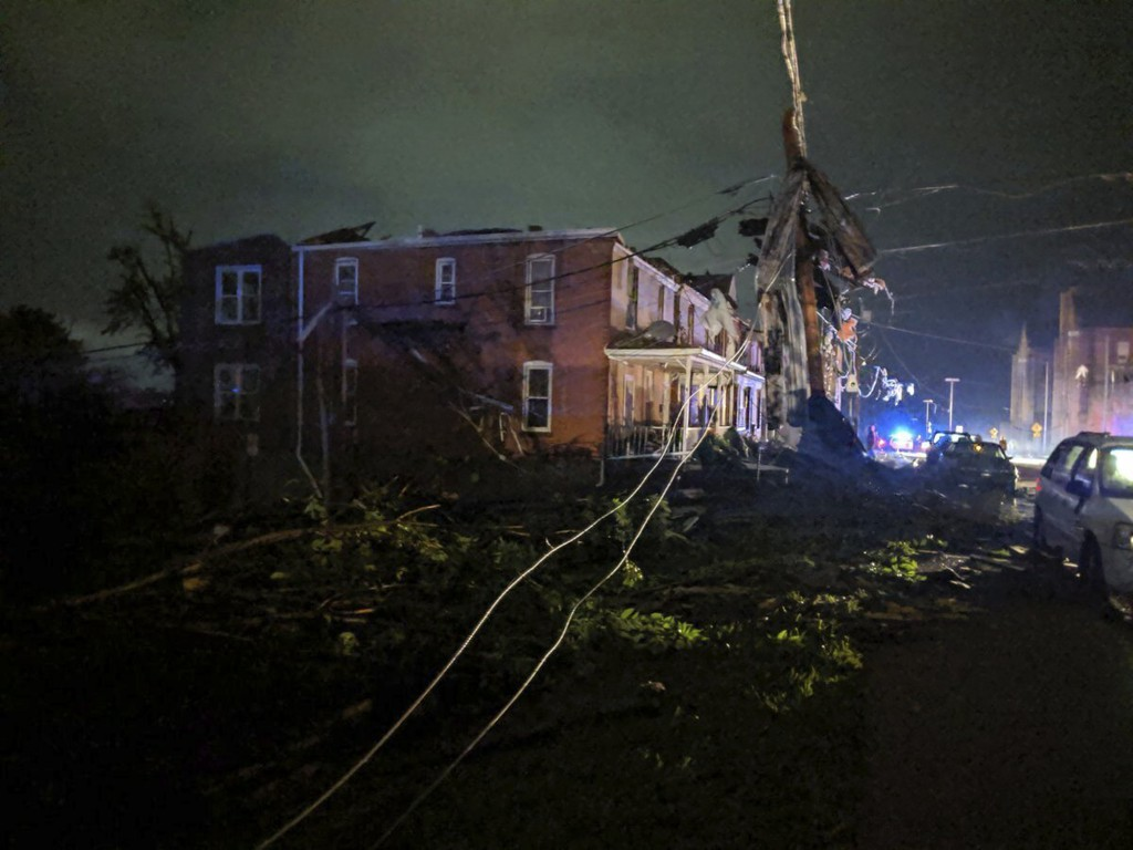 This image posted on Twitter account of Stechshultsy shows tornado-hit Jefferson City. MO., Thursday, May 23, 2019. The National Weather Service has c...