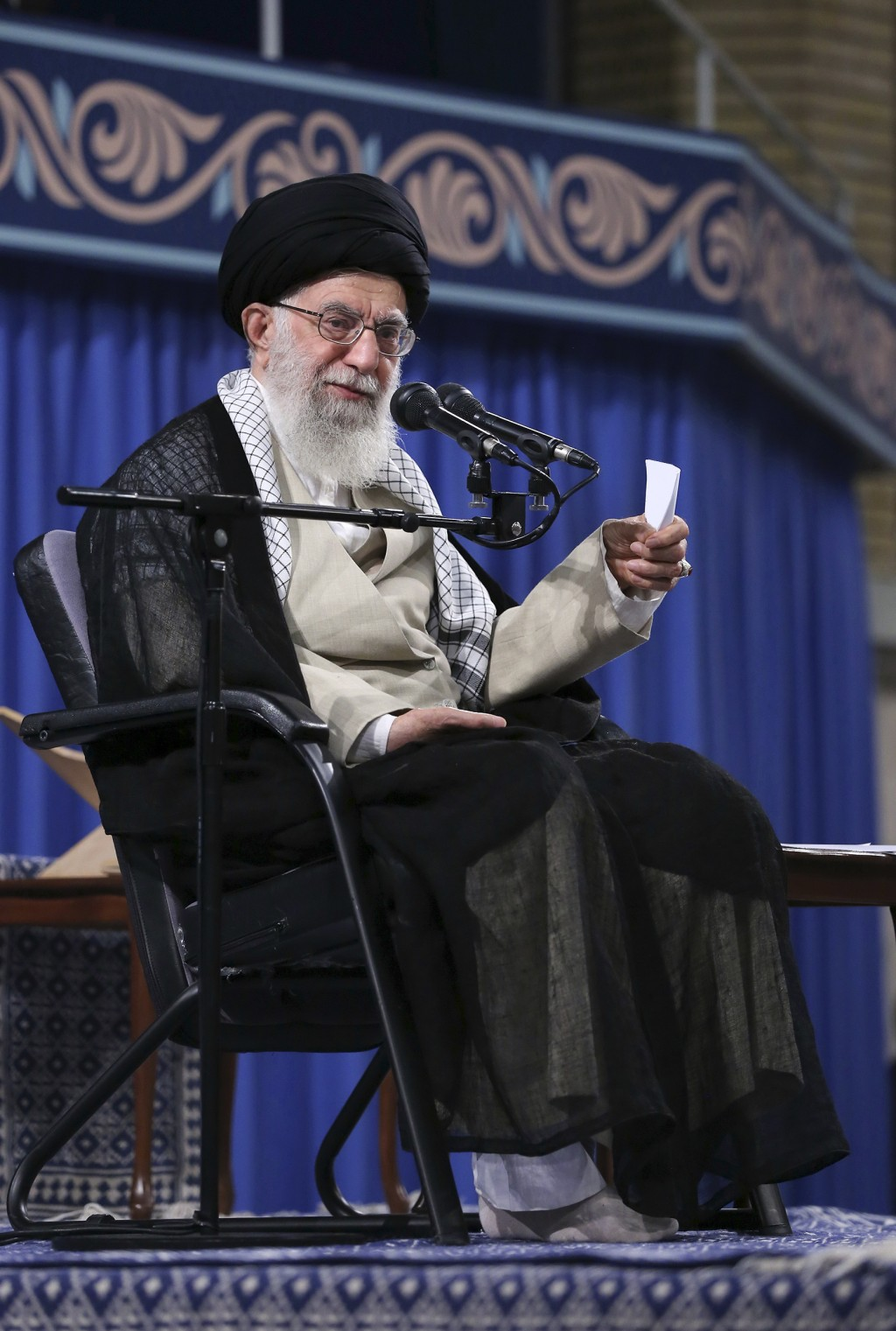 In this photo released on Wednesday, May 22, 2019 by the official website of the office of the Iranian supreme leader, Supreme Leader Ayatollah Ali Kh...