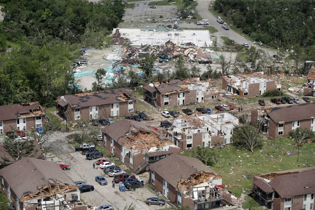 Severe storm damage is seen in Jefferson City, Mo., Thursday, May 23, 2019, after a tornado hit overnight. A tornado tore apart buildings in Missouri'...