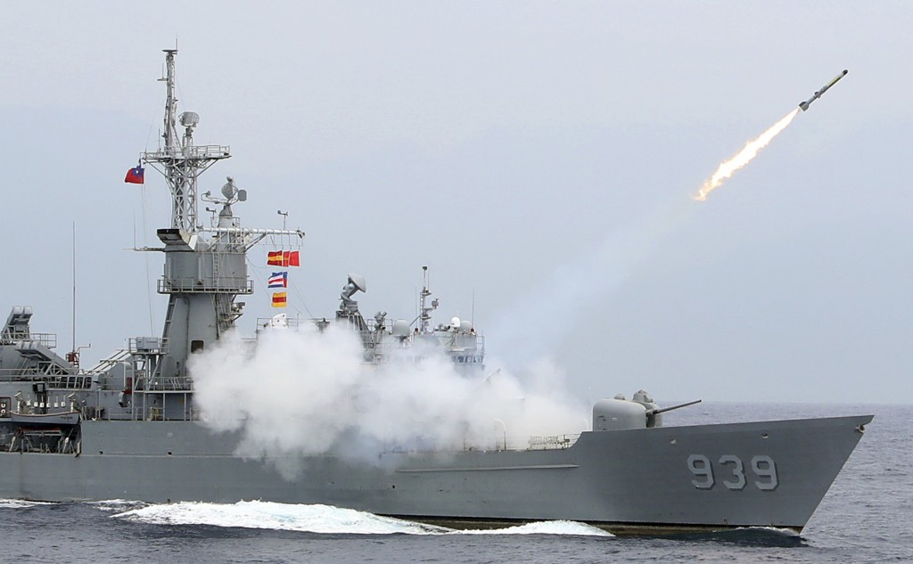 In this Wednesday, May 22, 2019, file photo, Taiwan Navy's Perry-class frigate launches an ASROC (anti-submarine rocket) during a naval exercise off H...