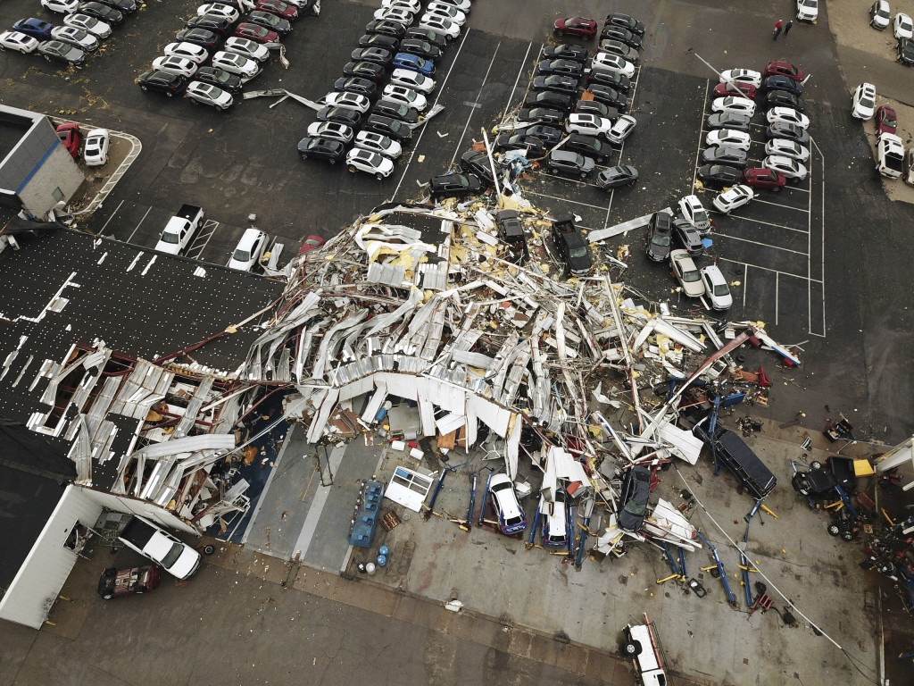 This aerial image shows severe storm damage in Jefferson City, Mo., Thursday, May 23, 2019, after a tornado hit overnight. A tornado tore apart buildi...