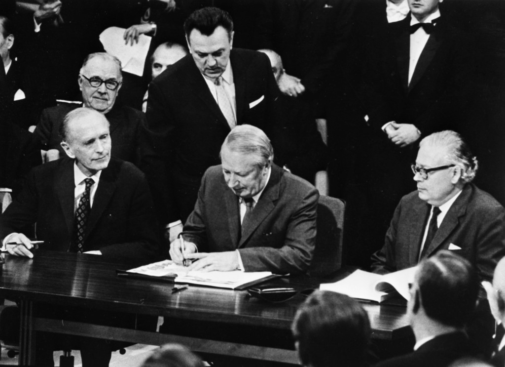 FILE - In this Jan. 22, 1972 file photo, British Prime Minister Edward Heath signs the treaty that saw Britain join the European Economic Community at