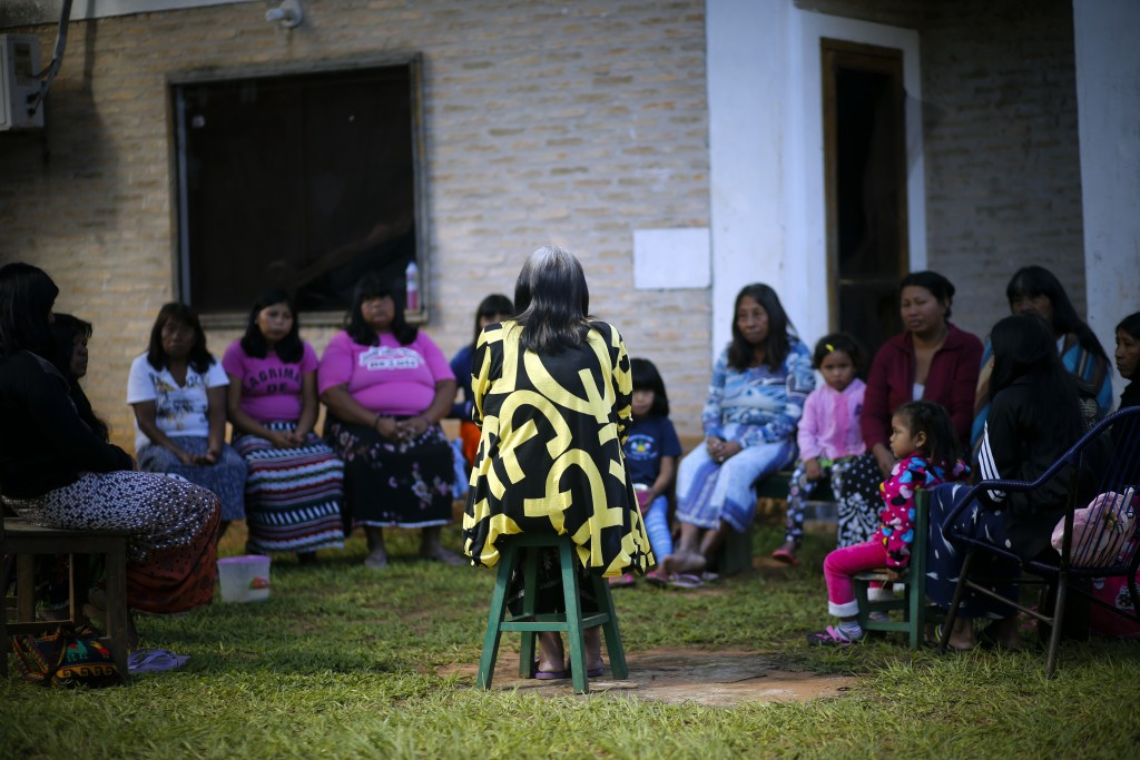 Maka indigenous leader-in-training Tsiweyenki, or Gloria Elizeche in Spanish, leads a women's meeting in Mariano Roque Alonso, Paraguay, Tuesday, May