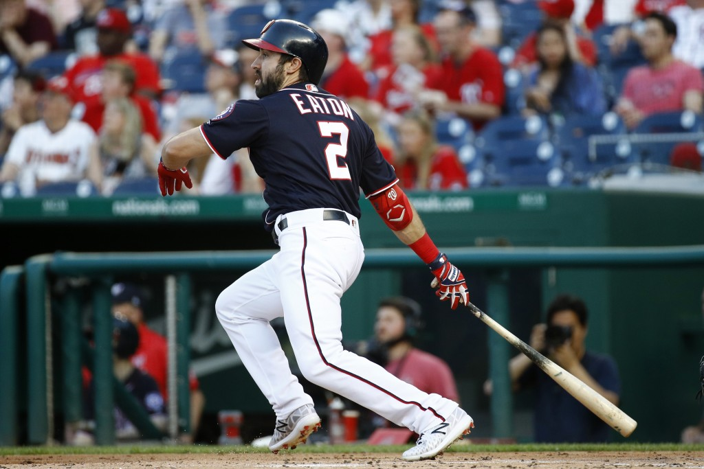 Washington Nationals' Adam Eaton watches his solo home run in the first inning of a baseball game against the Miami Marlins, Friday, May 24, 2019, in ...