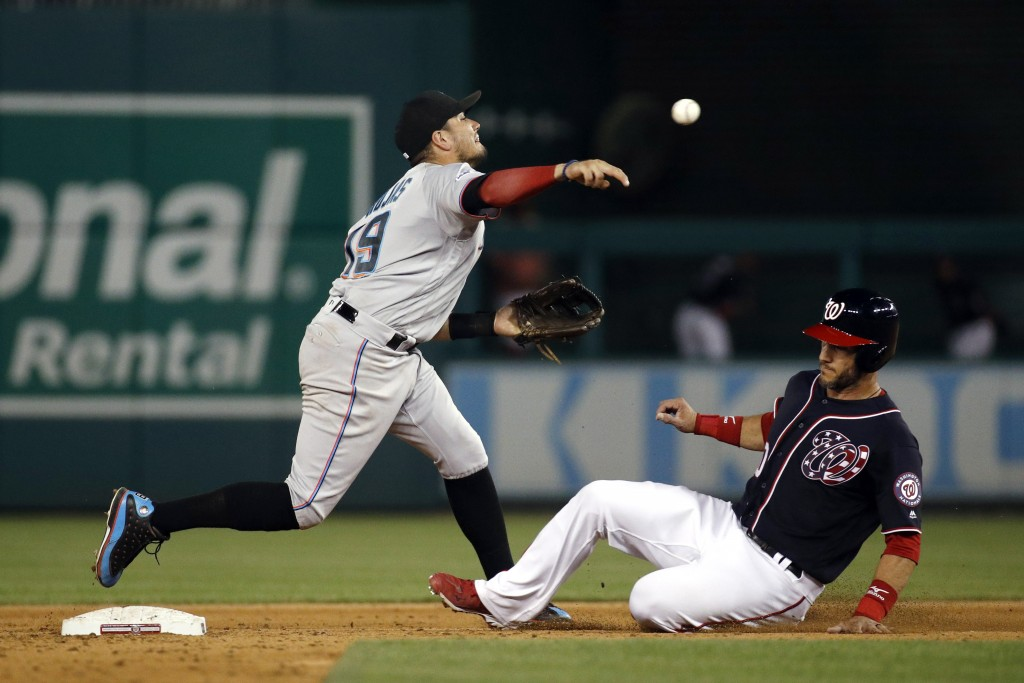 Miami Marlins shortstop Miguel Rojas, left, throws to first base for a double play after forcing out Washington Nationals' Yan Gomes, right, on Gerard...